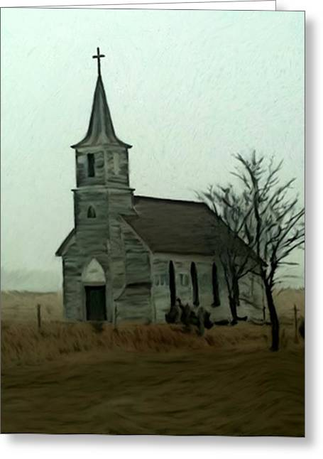 Country Church Mixed Media Greeting Cards - Milford Nebraska Church Greeting Card by Dennis Buckman