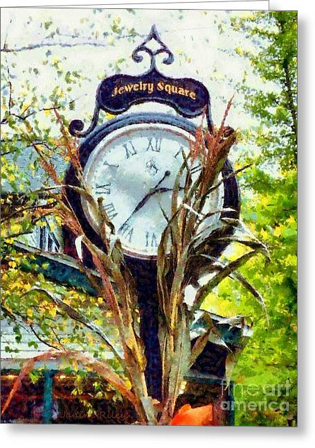 Milford Pa - Jewelry Square Street Clock - Autumn Greeting Card by Janine Riley
