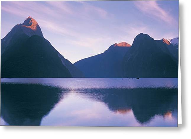 Pensive Greeting Cards - Milford Sound, New Zealand Greeting Card by Panoramic Images