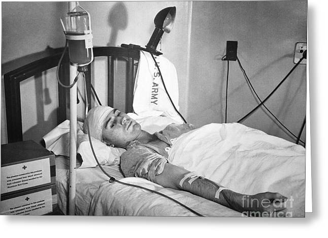Reed Bed Greeting Cards - Military Blood Transfusion, 1943 Greeting Card by Library Of Congress
