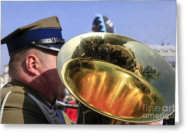 Marching Band Greeting Cards - military Brass band Greeting Card by Vladi Alon