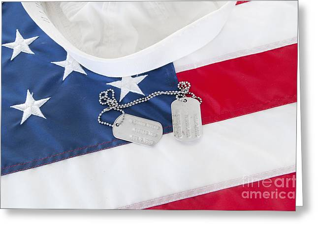 Crackerjack Greeting Cards - Military Dog Tags on Flag Greeting Card by Cheryl Casey