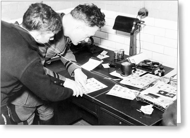 Suspect Greeting Cards - Military fingerprinting, 1930s Greeting Card by Science Photo Library