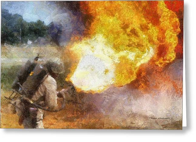 Military Flame Thrower Photo Art 01 Greeting Card by Thomas Woolworth