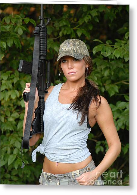 Hot Gun Greeting Cards - Military Girl Greeting Card by Jt PhotoDesign