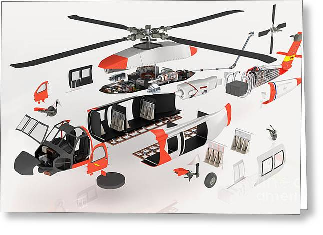 Disassembled Greeting Cards - Military Helicopter, Exploded View Greeting Card by Nikid Design Ltd / Dorling Kindersley