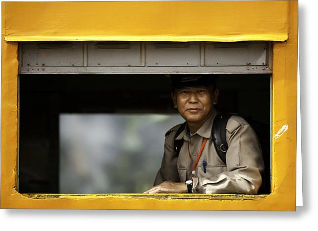 Military Man Smiling In The Train Greeting Card by Ruben Vicente