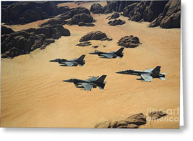 Jordanian Greeting Cards - Military Planes Flying Over The Wadi Greeting Card by Stocktrek Images