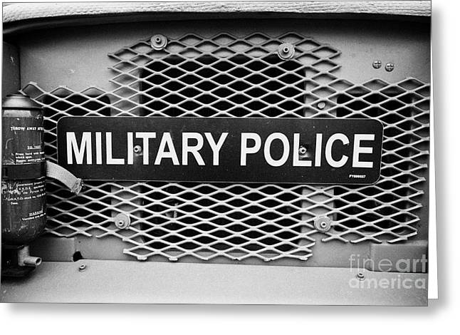 Military Police Sign On Vintage British Army Military Vehicles On Display County Down Northern Irela Greeting Card by Joe Fox
