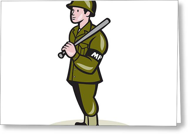 Police Baton Greeting Cards - Military Police With Night Stick Baton Cartoon Greeting Card by Aloysius Patrimonio