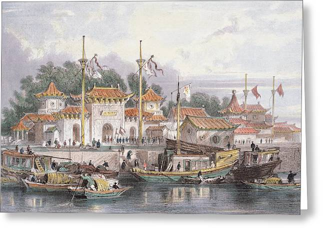 Military Station Of The Chinese Greeting Card by Thomas Allom