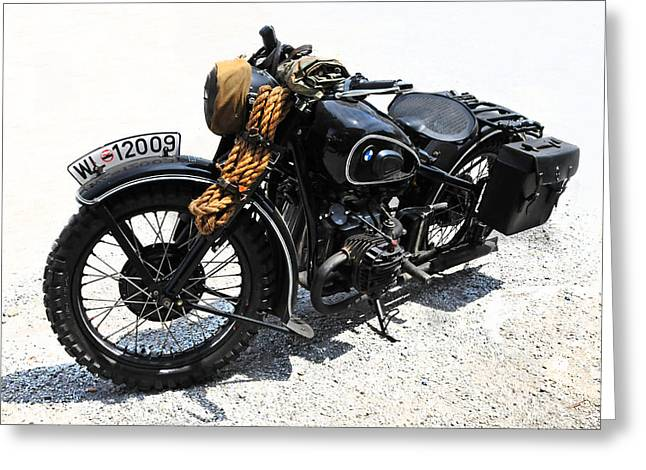 Saddlebag Greeting Cards - Military Style BMW Motorcycle Greeting Card by Dave Mills