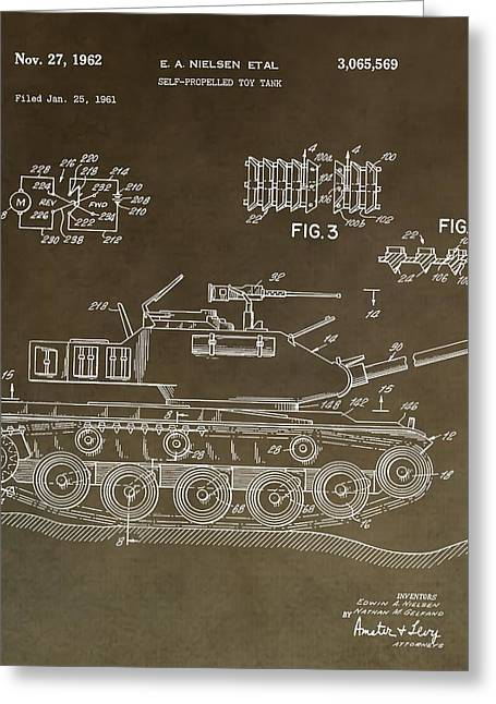 Army Tank Greeting Cards - Military Tank Patent Greeting Card by Dan Sproul