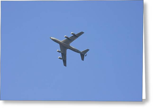 Military Greeting Cards - Military Tanker Airplane Flying In Blue Sky  Greeting Card by Keith Webber Jr