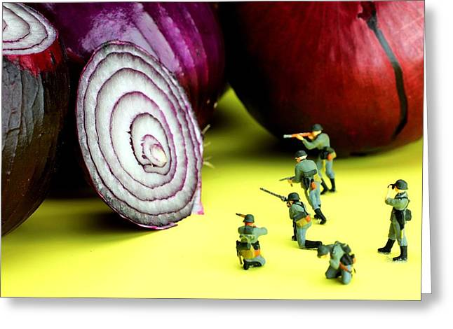 Creative People Greeting Cards - Military training with red onion little people on food Greeting Card by Paul Ge