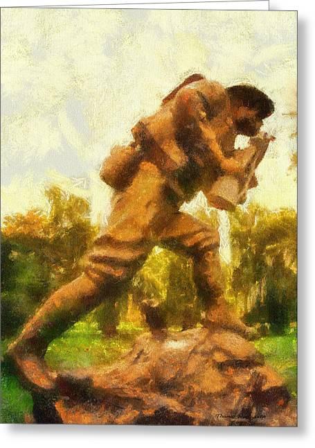 Military Ww I Doughboy 01 Photo Art Greeting Card by Thomas Woolworth