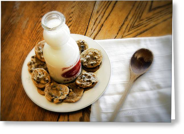 Milk And Cookies Greeting Cards - Milk and Cookies Greeting Card by Cricket Hackmann