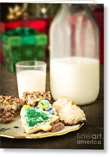 Christmas Greeting Photographs Greeting Cards - Milk and Cookies Greeting Card by Edward Fielding