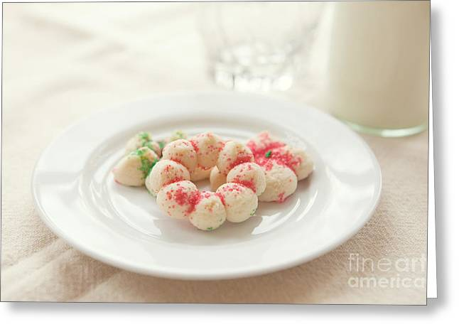 Milk And Cookies Greeting Cards - Milk and Cookies Greeting Card by Kay Pickens