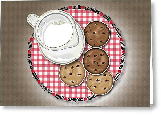 Milk Digital Art Greeting Cards - Milk and Cookies Greeting Card by Ym Chin