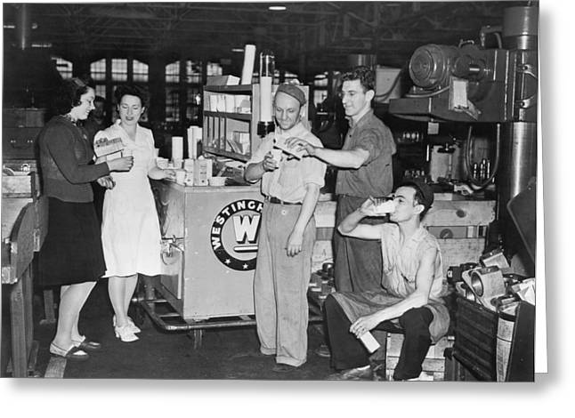 Work Area Greeting Cards - Milk Break For War Workers Greeting Card by Underwood Archives