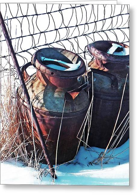 Milk Day Greeting Cards - Milk Cans Along The Fence Greeting Card by Terril Heilman