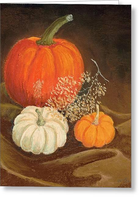 Pumpkins Pastels Greeting Cards - Milk Chocolate Greeting Card by Naomi Ball