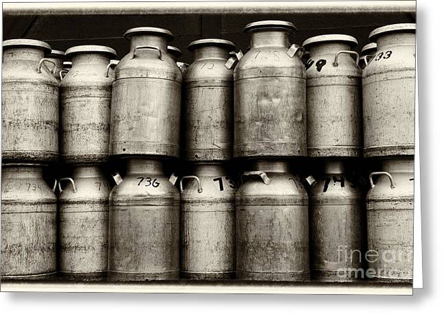 Canned Food Greeting Cards - Milk Containers Sepia Greeting Card by Iris Richardson