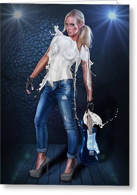 Milk Dress - Rockstar Girl Lights Greeting Card by Rod Meier