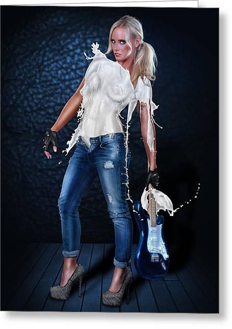 Gitarre Greeting Cards - Milk Dress - Rockstar Girl Greeting Card by Rod Meier