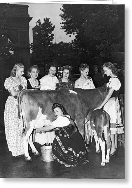 Milk For Spanish Loyalists Greeting Card by Underwood Archives
