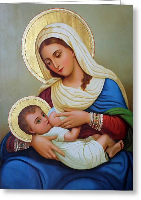 Jesus Artwork Photographs Greeting Cards - Milk Grotto Artwork Greeting Card by Munir Alawi