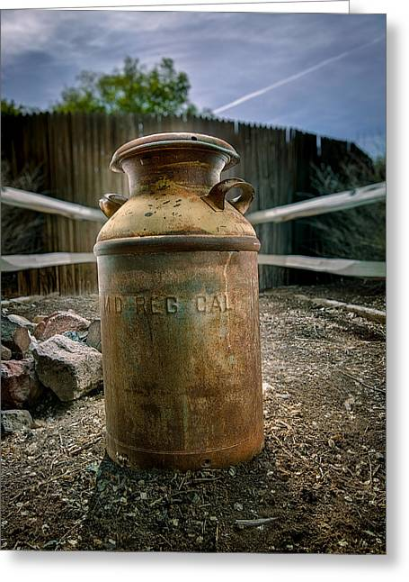 Outdoor Still Life Greeting Cards - Milkcan In The Yard Greeting Card by YoPedro