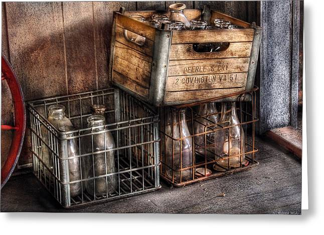 Milkman - Bottles In Boxes Greeting Card by Mike Savad