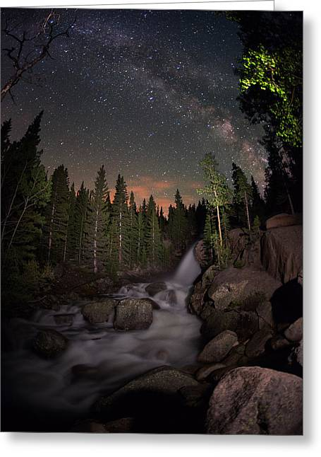 Alberta Water Falls Greeting Cards - Milky Skies Over Alberta Falls Greeting Card by Mike Berenson