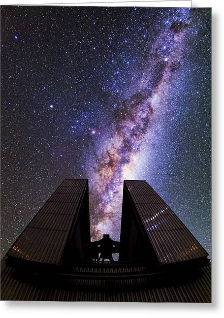 Milky Way Above The Ntt Telescope Greeting Card by Babak Tafreshi