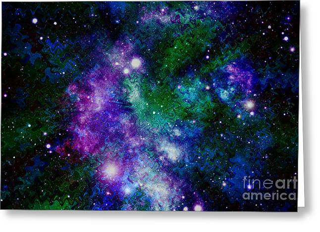 Abstract Night Sky Greeting Cards - Milky Way Abstract Greeting Card by Carol Groenen