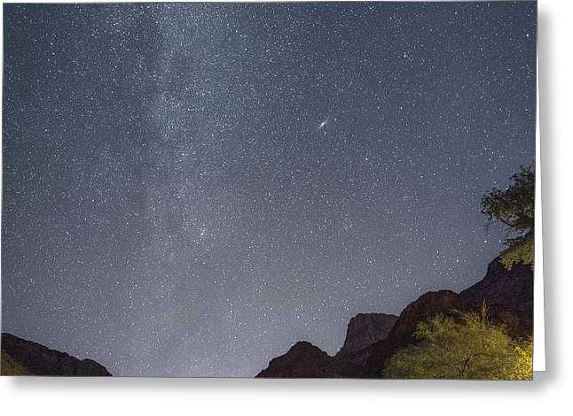 South Kaibab Trail Greeting Cards - Milky Way and Andromeda Galaxy from Phantom Ranch Grand Canyon Greeting Card by Tony Fuentes