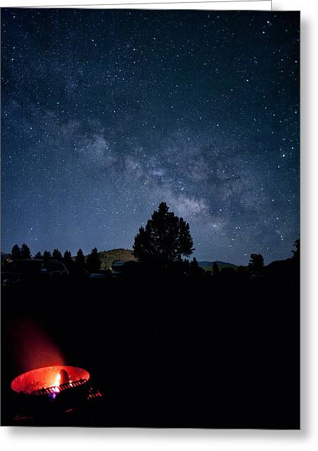 Perpetual Motion Greeting Cards - Milky Way and Campfire Greeting Card by Melany Sarafis