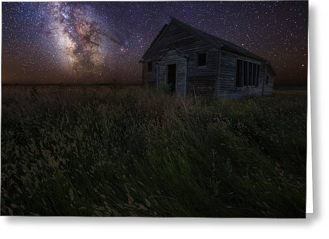 Abandoned School House. Greeting Cards - Milky Way and Decay Greeting Card by Aaron J Groen