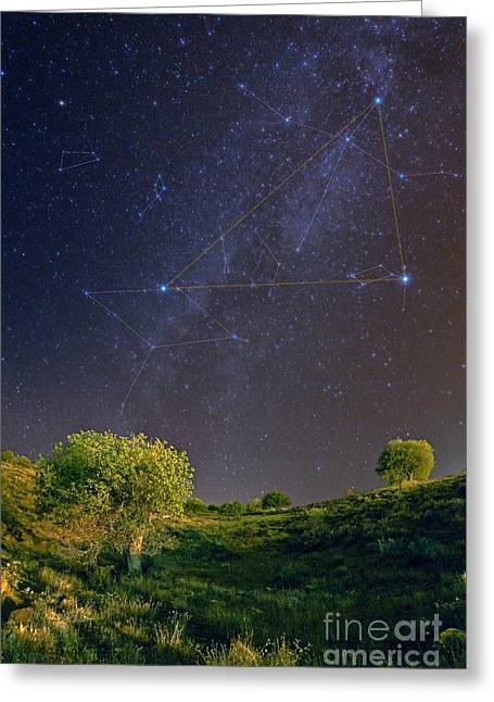 Deneb Greeting Cards - Milky Way And Summer Triangle With Greeting Card by Babak Tafreshi