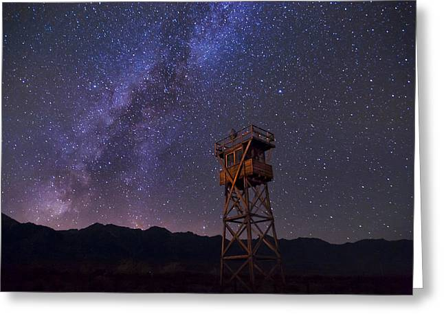 Shack Greeting Cards - Milky Way at Manzanar Greeting Card by Cat Connor