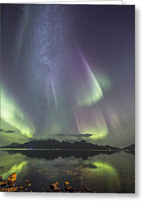 Norway Beach Greeting Cards - Milky Way Greeting Card by Frank Olsen