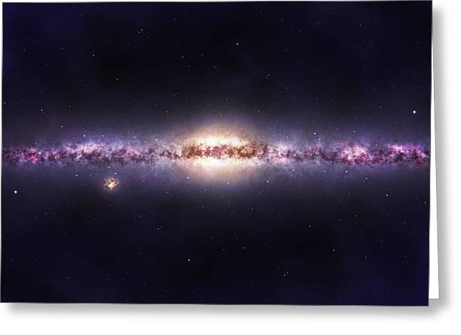 Astronauts Mixed Media Greeting Cards - Milky way galaxy Greeting Card by Celestial Images