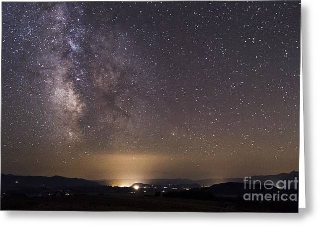 Bridger Teton Greeting Cards - Milky Way Galaxy Over Jackson Wyoming Greeting Card by Mike Cavaroc