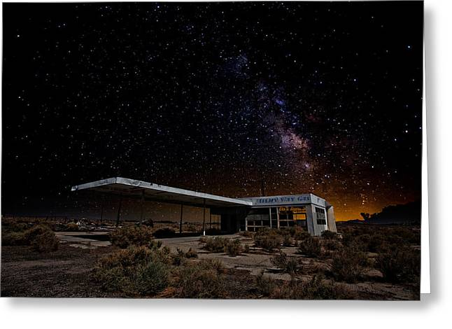 Gas Station Greeting Cards - Milky Way Gas Greeting Card by Peter Tellone
