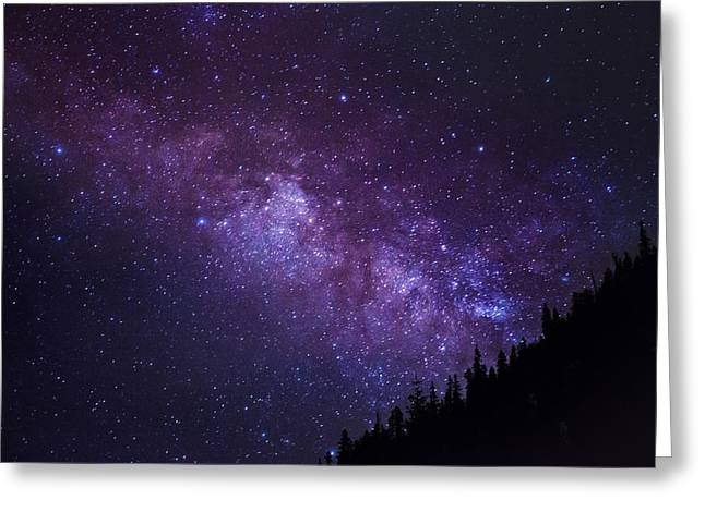 Abstract Night Sky Greeting Cards - Milky Way Hill Greeting Card by Brad Scott
