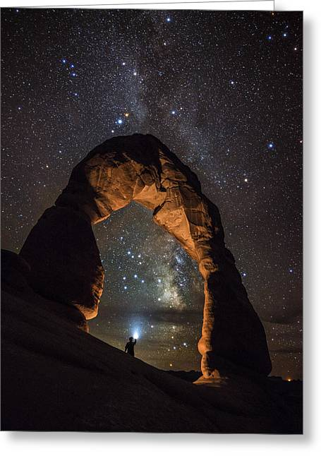 Night Photography Workshop Greeting Cards - Milky Way Illumination At Delicate Arch Greeting Card by Mike Berenson