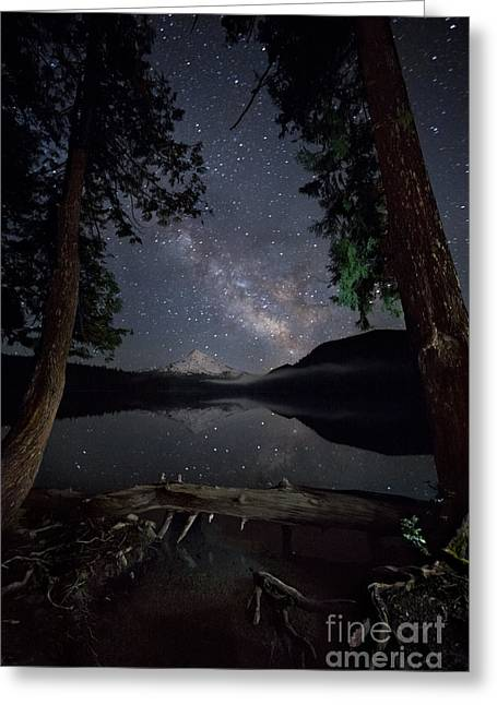 Lost Lake Greeting Cards - Milky Way Landscape, Oregon Greeting Card by Ben Canales