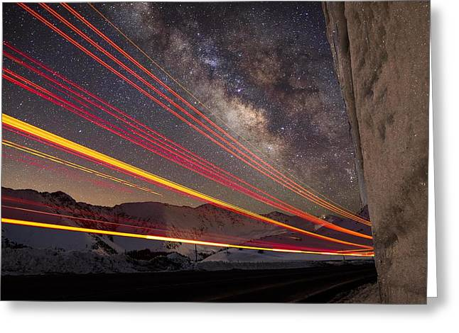 Mike Berenson Greeting Cards - Milky Way Light Trails On Loveland Pass Greeting Card by Mike Berenson